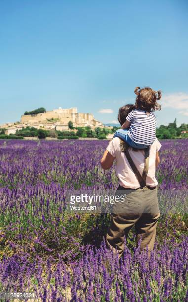 France, Grignan, back view of mother standing in lavender field with little daughter on her shoulders