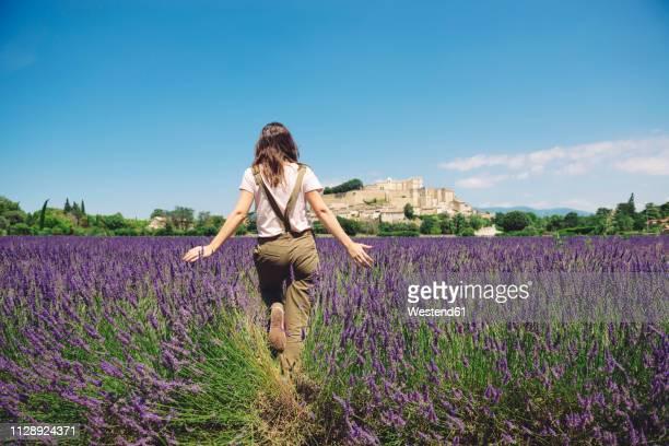 France, Grignan, back view of woman walking in lavender field