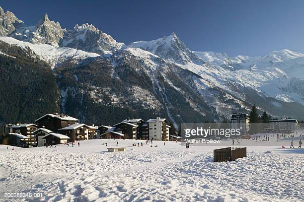 france, haute savoie, chamonix, mountains in background - haute savoie stock pictures, royalty-free photos & images