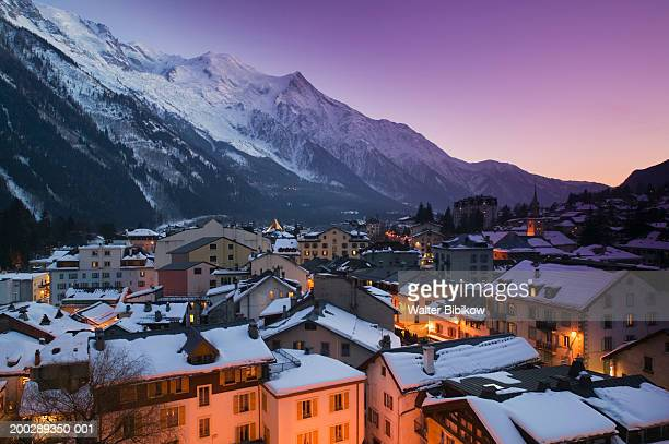 France, Haute Savoie, Chamonix, rooftops, evening, winter