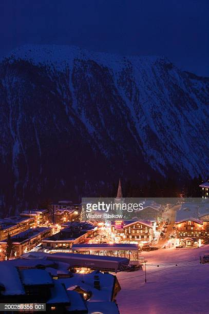 france, haute savoie, courchevel, evening, winter, elevated view - courchevel photos et images de collection