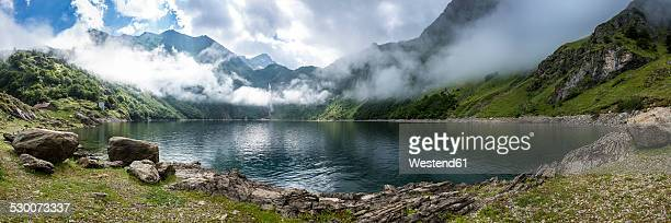 France, Haute-Garonne, Pyrenees, fog at mountain lake Lac d'Oo