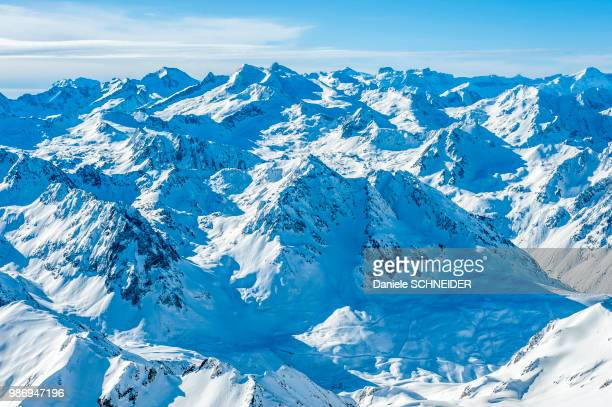 france, hautes pyrenees, la mongie, snow-covered panorama seen from the pic du midi de bigorre observatory (2,877m) - hautes pyrenees stock pictures, royalty-free photos & images