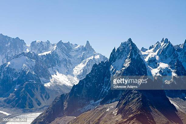 france, haute-savoie, chamonix, mont blanc massif, aerial view - mont blanc massif stock photos and pictures