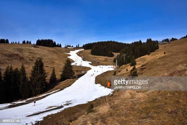 France, Haute-Savoie Megève, domaine skiable du Mont d'Arbois, manque de neige début d'hiver 2016. France, Haute-Savoie Megève, skiing area of Mont...