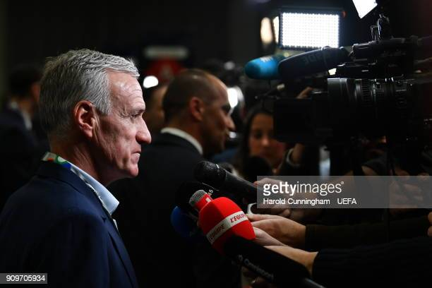 France head coach Didier Deschamps is interviewed following the UEFA Nations League Draw on January 24 2018 in Lausanne Switzerland
