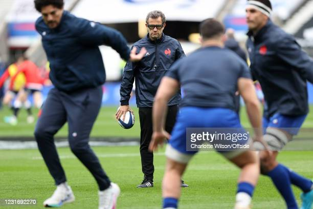 France head coach Fabien Galthie ahead of the Guinness Six Nations match between England and France at Twickenham Stadium on March 13, 2021 in...