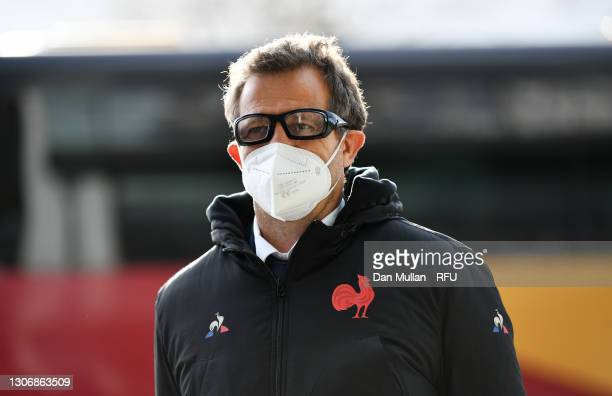 France Head Coach, Fabien Galthie arrives prior to the Guinness Six Nations match between England and France at Twickenham Stadium on March 13, 2021...