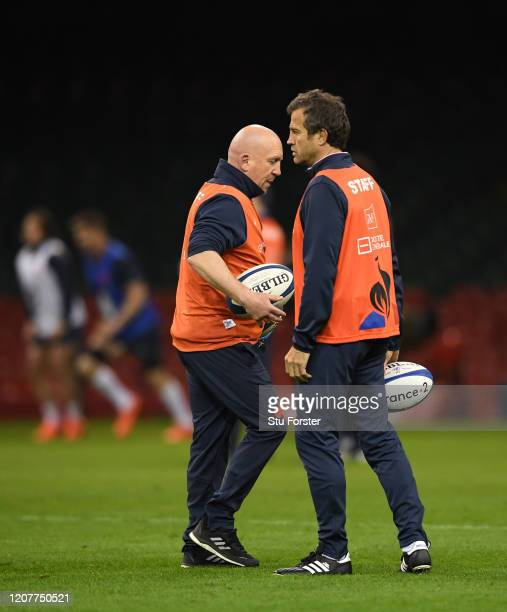 France head coach Fabien Galthie chats with defence coach Shaun Edwards during the France Captains Run ahead of the Guinness Six Nations match...