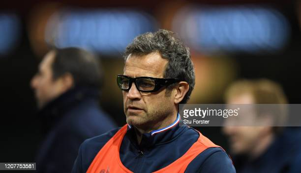 France head coach Fabien Galthie looks on during the France Captains Run ahead of the Guinness Six Nations match against Wales at Principality...