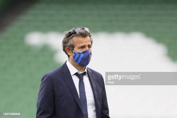 France Head Coach Fabien Galthie looks on prior to the Guinness Six Nations match between Ireland and France at Aviva Stadium on February 14, 2021 in...