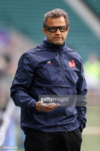 France Head Coach, Fabien Galthie looks on prior to the Guinness Six Nations match between England and France at Twickenham Stadium on March 13, 2021...