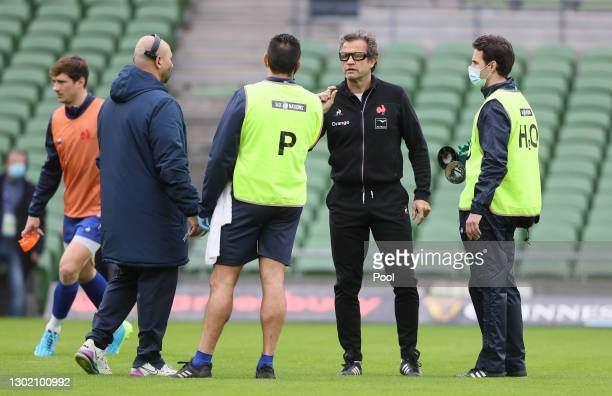 France Head Coach Fabien Galthie reacts during the warm up prior to the Guinness Six Nations match between Ireland and France at Aviva Stadium on...
