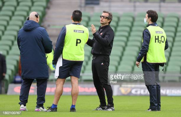 France Head Coach Fabien Galthie reacts prior to the Guinness Six Nations match between Ireland and France at Aviva Stadium on February 14, 2021 in...