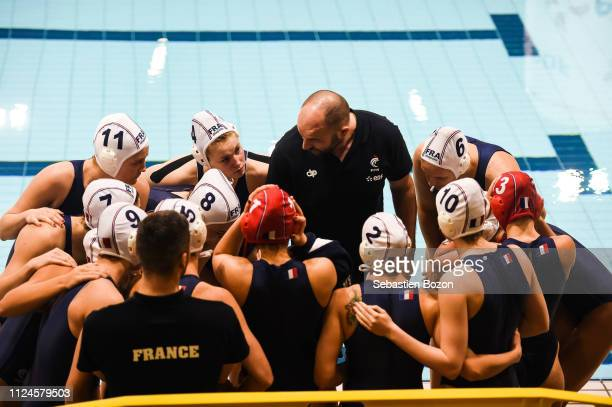 France head coach Florian Bruzzo during the Women's International Match Water Polo match between France and Italy on February 12 2019 in Mulhouse...