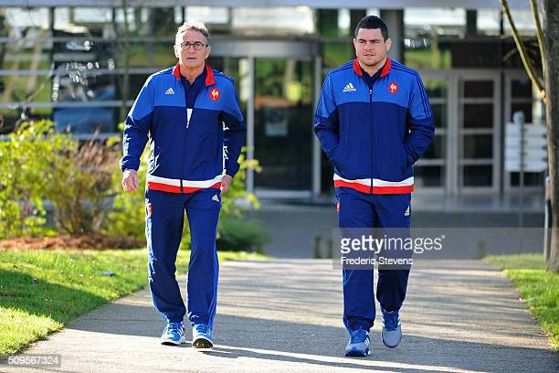 France head coach Guy Noves and captain of France team Guilhem Guirado arrive for a press conference at National Center of Rugby in Marcoussis on...