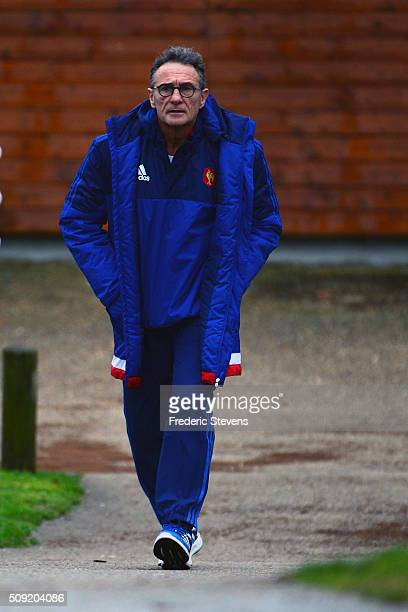France head coach Guy Noves arrives for a training session at National center of rugby ahead of their Six Nations match against Ireland on February 9...