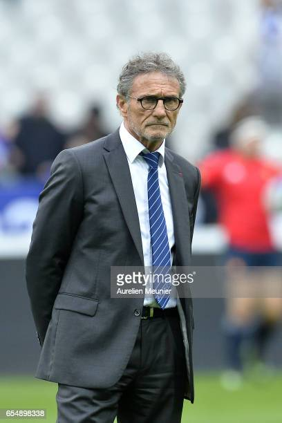 France Head Coach Guy Noves reacts during warmup before the RBS Six Nations match between France and Wales at Stade de France on March 18 2017 in...