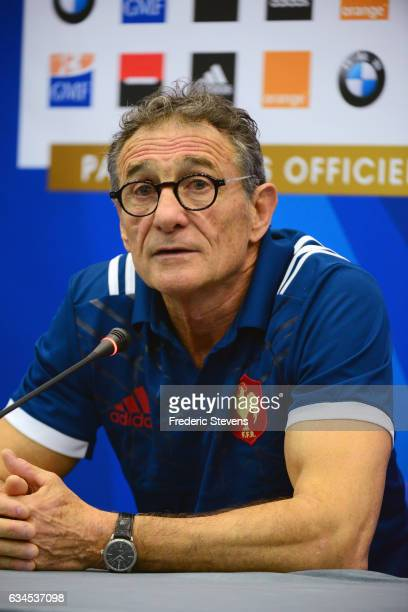 France head coach Guy Noves speaks during a press conference at National Center of Rugby in Marcoussis on February 10 2017 in Marcoussis France The...