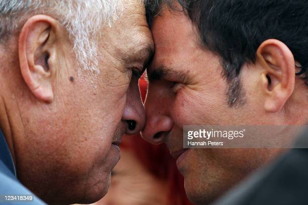 France head coach Marc Lievremont receives a traditional Maori hongi during the official IRB Rugby World Cup 2011 French team welcome ceremony at...