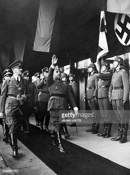 France Hendaye Adolf Hitler and Francisco Franco stepping out the Guard of Honour with in retinue Field Marshal Walther von Brauchitsch Photographer...