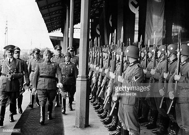 France Hendaye Adolf Hitler and Francisco Franco stepping out the Guard of Honour with in retinue the Field Marshals Walther von Brauchitsch and...