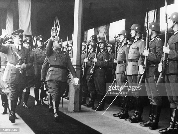 France Hendaye Adolf Hitler and Francisco Franco stepping out the Guard of Honour with in retinue from left the Field Marshals Walther von...