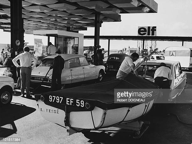 France Holidays Queue At The Gas Station During Summer Holidays 1971 July