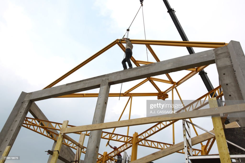 France House Building Handling Safety With A Crane Construction Of A ...