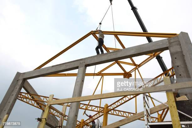 France, House building, handling safety with a crane, construction of a steel frame