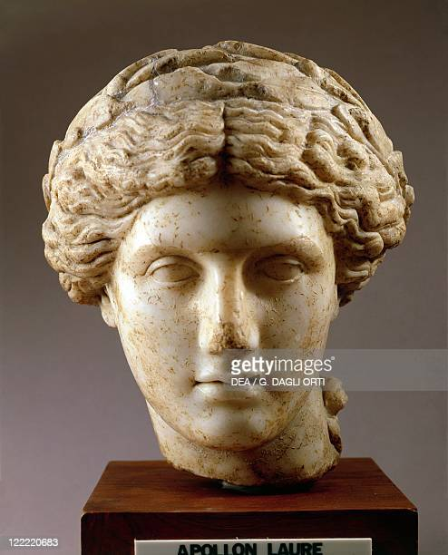 France, House of the Messii, Head of Apollo crowned with a laurel wreath, Roman copy after a Greek original.