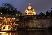 France, Ile de France, Paris, 18th district, Montmartre, Carousel in front of Sacré Coeur basilica