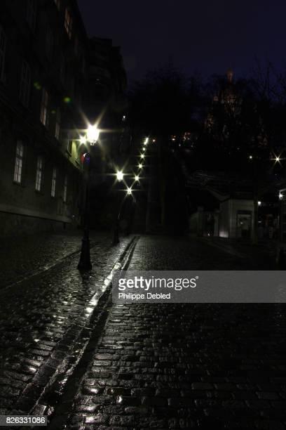 France, Ile de France, Paris, 18th district, Staircase acess to montmartre at twilight