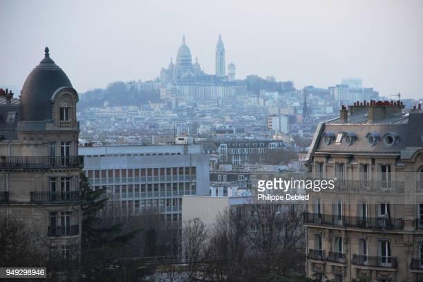 France, Ile de France, Paris, 19th district, view of the Basilica of Sacré Coeur from Parc des Buttes Chaumont