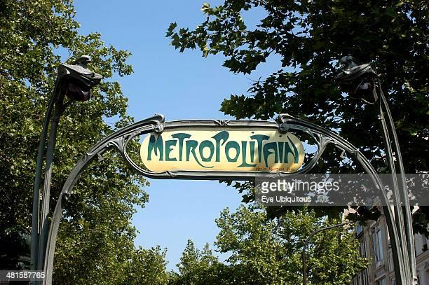 France Ile de France Paris Art Nouveau style Metropolitan sign in green wrought iron