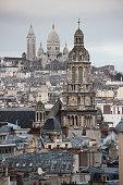 France, Ile de France, Paris, Trinity church and Sacré Coeur basilica