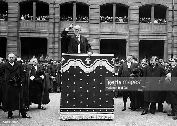 France Ile de France Rambouillet Superintendent Louis Lepine during a speech for the dead policeman Garnier Photographer MRol 1912Vintage property of...