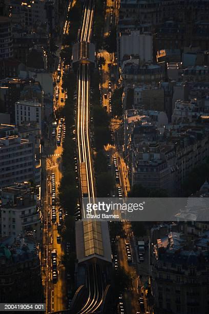 France, Ile-de-France, Paris, railway through city, elevated view