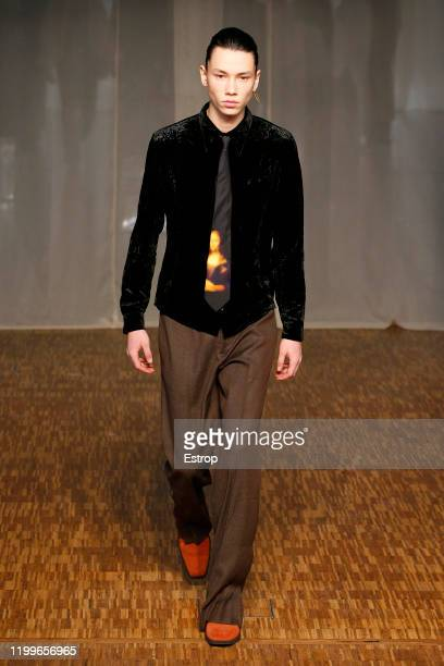 A model walks the runway at OffWhite show during Paris Fashion Week Men's at Carrousel Du Louvre on January 15 2020 PARIS France