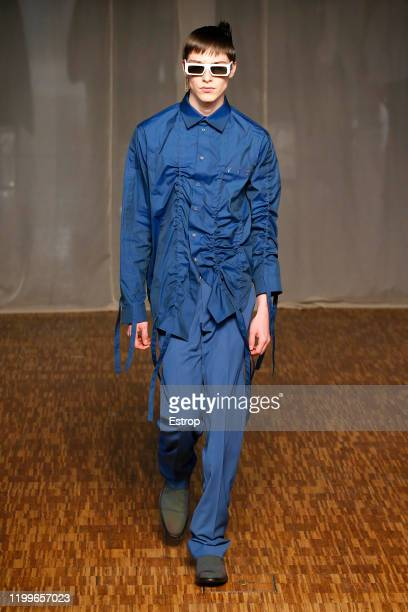 France – January 15: A model walks the runway at Off-White show during Paris Fashion Week Men's at Carrousel Du Louvre on January 15, 2020 PARIS,...