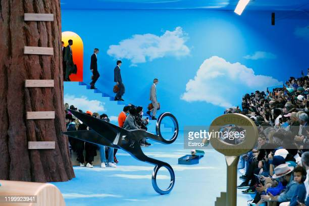 France – January 16: Atmosphere at Louis Vuitton show during Paris Fashion Week Men's on January 16 at Jardin des Tulleries, 2020 PARIS, France.