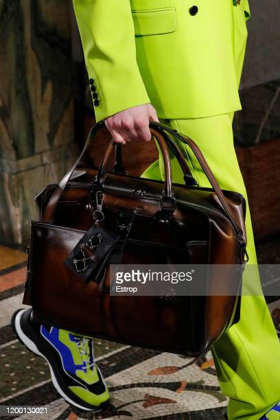 France – January 17: Bag detail during the Berluti Menswear Fall/Winter 2020-2021 show as part of Paris Fashion Week at Opera Garnier on January 17,...
