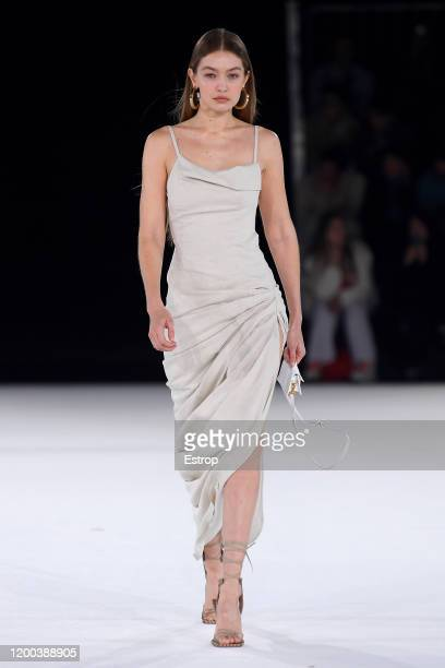 France – January 18: Model Gigi Hadid walks the runway during the Jacquemus Menswear Fall/Winter 2020-2021 show as part of Paris Fashion Week on...