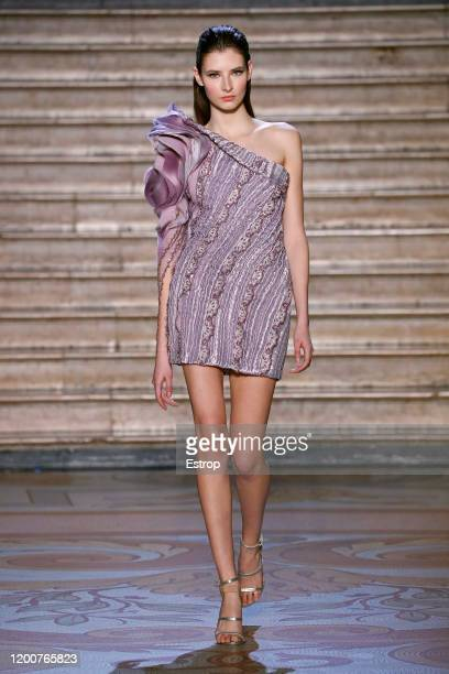 France – January 20: A model walks the runway during the Tony Ward - Haute Couture Spring/Summer 2020 show as part of Paris Fashion Week on January...