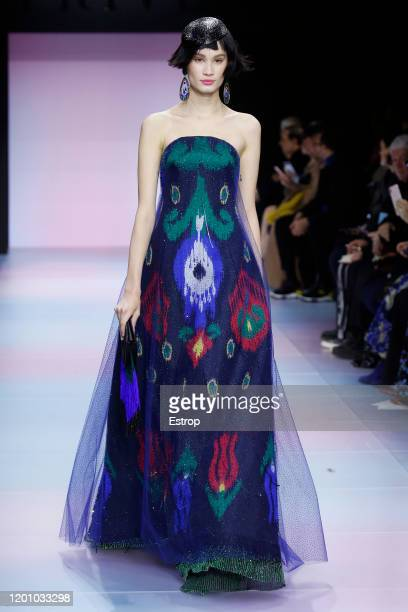 A model walks the runway during the Giorgio Armani Prive Haute Couture Spring/Summer 2020 show as part of Paris Fashion Week on January 21 2020 in...