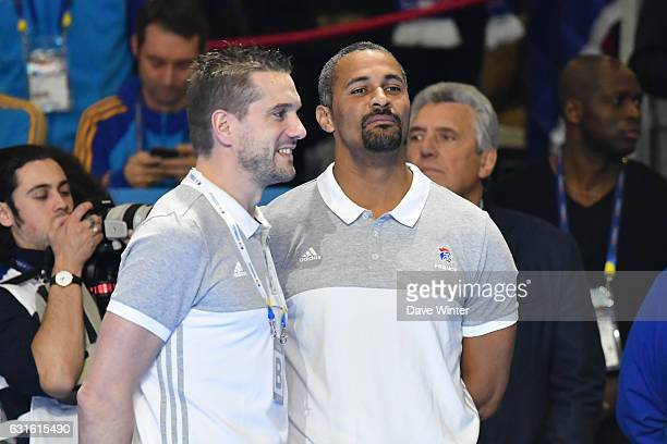 France joint coach Didier Dinart and France joint coach Guillaume Gille during the IHF Men's World Championship match between France and Japan...