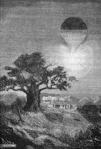 France Jules Verne Five Weeks in a Balloon Illustration by Riou Hetzel publications Private Collection 1863