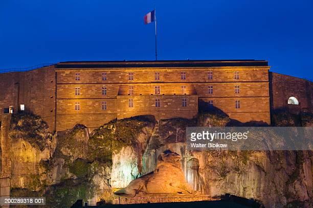 france, jura/territoire-de-belfort, belfort, citadel exterior, evening - ベルフォール ストックフォトと画像