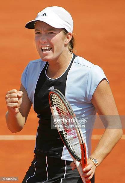 Justine HeninHardenne jubilates after winning against Spain Virginia Ruano Pascual their second round match of the tennis French Open at Roland...
