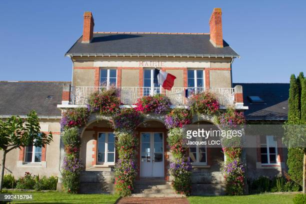 france, la bernerie en retz, the front of town hall. - town hall stock pictures, royalty-free photos & images